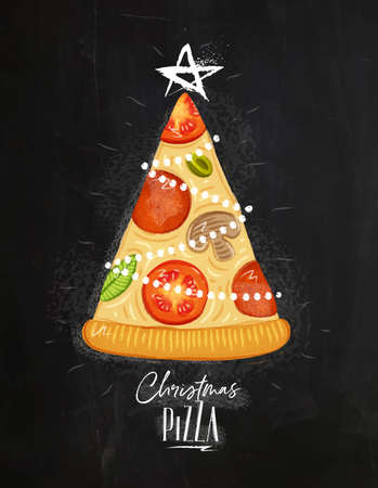Poster christmas tree pizza with star on top with lettering drawing on chalkboard background. Иллюстрация