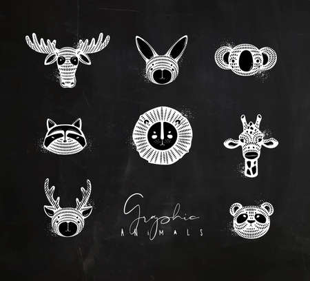 Set of animals authentic graphic rabbit, panda, raccoon, lion, giraffe, antelope, deer, bear, moose drawing with chalk on chalkboard background