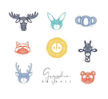 Set of animals authentic graphic rabbit, panda, raccoon, lion, giraffe, antelope, deer, bear, moose drawing in different colors Illustration