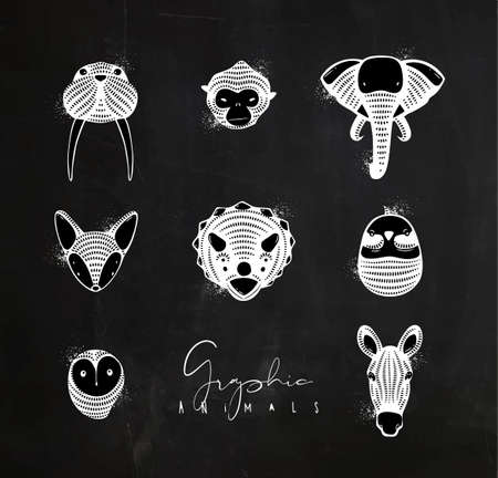 Set of animals authentic graphic walrus, monkey, elephant, fox, triceratops, bird, owl, horse drawing with chalk on chalkboard background