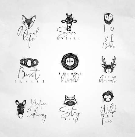 Set of animals authentic graphic signs fox, giraffe, owl, panda, lion, antelope, horse, cat, monkey with lettering drawing on dirty background