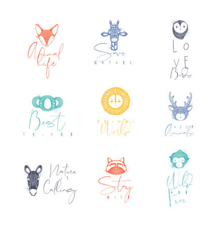 Set of animals authentic graphic signs fox, giraffe, owl, panda, lion, antelope, horse, cat, monkey with lettering drawing in different colors