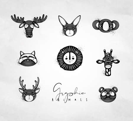 Set of animals authentic graphic rabbit, panda, raccoon, lion, giraffe, antelope, deer, bear, moose drawing on dirty background
