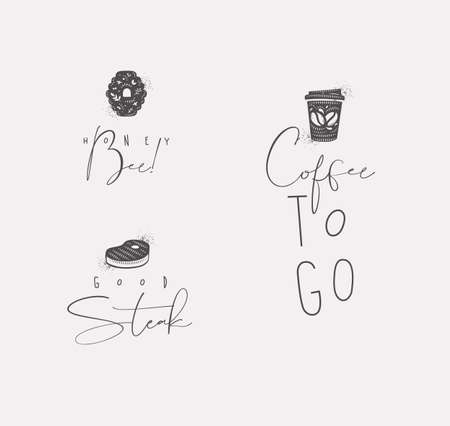 Food sign lettering honey bee, steak, coffee drawing in minimalism style