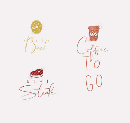 Food sign lettering honey bee, steak, coffee drawing with color in minimalism style