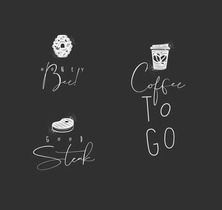 Food sign lettering honey bee, steak, coffee drawing in minimalism style on dark background Ilustrace