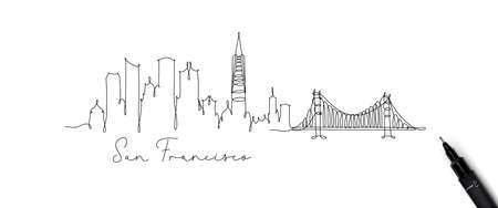 City silhouette san francisco in pen line style drawing with beige lines on white background