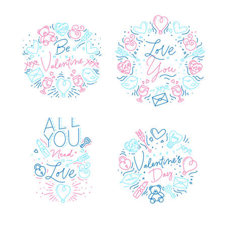 Set of valentines day flat monogram with greeting lettering drawing with color on white background.