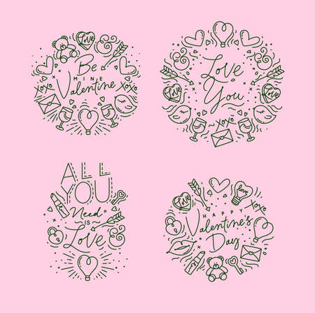 Set of valentines day flat monogram with greeting lettering drawing on pink background.