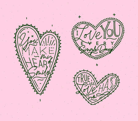 Set of valentines day flat hearts with greeting lettering drawing on pink background. Illustration