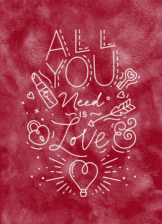Poster valentines day lettering all you need is love drawing on red background