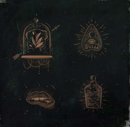 Magic and mystic signs and symbols head, tablet pointer, lips, bottle drawing on dark green background
