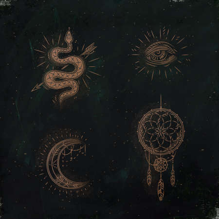 Magic and mystic signs and symbols snake, eye, moon, dreamcatcher drawing on dark green background Illustration