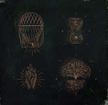 Magic and mystic signs and symbols hot air balloon, hourglass, hand, tree of life drawing on dark green background