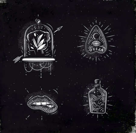 Magic and mystic signs and symbols head, tablet pointer, lips, bottle drawing with chalk on chalkboard Vektoros illusztráció