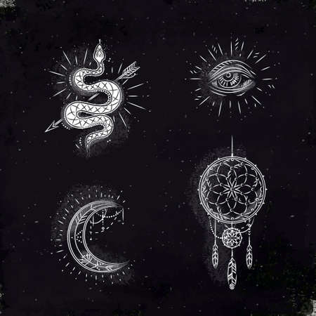 Magic and mystic signs and symbols snake, eye, moon, dreamcatcher drawing with chalk on chalkboard 스톡 콘텐츠 - 126561553