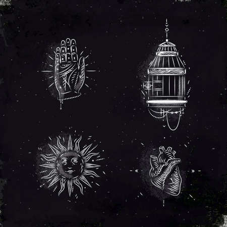 Magische und mystische Zeichen und Symbole Hand, Vogelkäfig, Sonne, Herzzeichnung mit Kreide auf Tafel