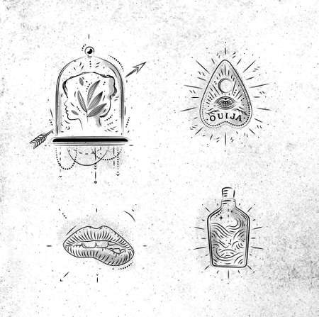 Magic and mystic signs and symbols head, tablet pointer, lips, bottle drawing on dirty paper background