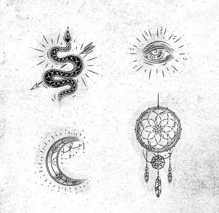 Signos y símbolos mágicos y místicos serpiente, ojo, luna, dibujo de atrapasueños sobre fondo de papel sucio