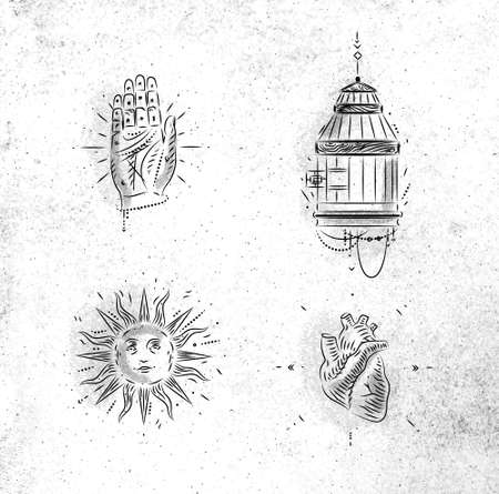 Magic and mystic signs and symbols hand, bird cage, sun, heart drawing on dirty paper background