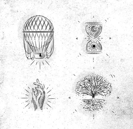 Magic and mystic signs and symbols hot air balloon, hourglass, hand, tree of life drawing on dirty paper background