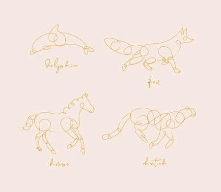 Set dieren dolfijn, vos, paard, cheetah tekening in pen lijnstijl op beige achtergrond