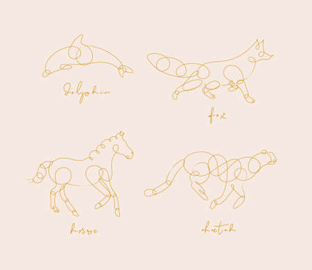 Set of animals dolphin, fox, horse, cheetah drawing in pen line style on beige background