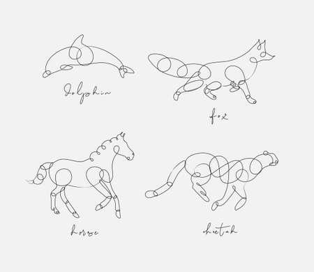 Aantal dieren dolfijn, vos, paard, cheetah tekening in pen lijnstijl op lichte achtergrond