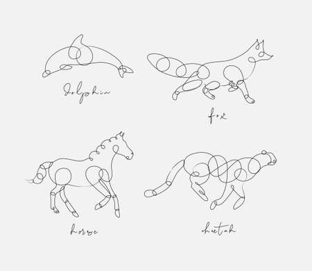 Set of animals dolphin, fox, horse, cheetah drawing in pen line style on light background Иллюстрация