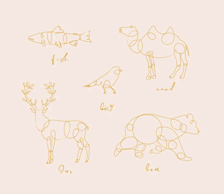 Set of animals fish, camel, bird, deer bear drawing in pen line style on beige Illustration
