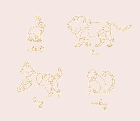 Set van dieren konijn, leeuw, hond, aap tekening in pen lijnstijl op beige background
