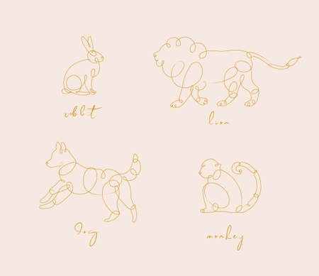 Set of animals rabbit, lion, dog, monkey drawing in pen line style on beige background Illustration