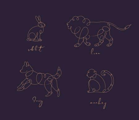 Set of animals rabbit, lion, dog, monkey drawing in pen line style on dark