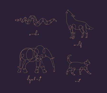 Set dieren slang, wolf, olifant, kat tekening in pen lijnstijl op dark