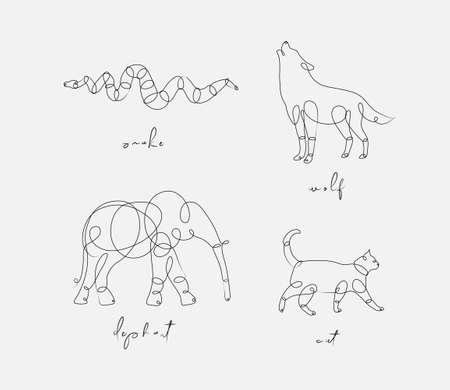 Satz Tiere Schlange, Wolf, Elefant, Katze, die im Stiftlinienstil auf hellem Hintergrund zeichnet drawing Vektorgrafik