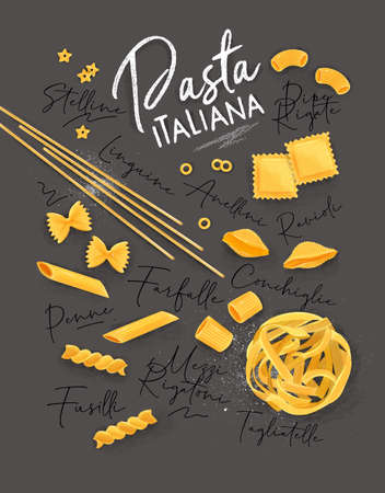Poster lettering pasta italiana with many kinds of macaroni drawing on grey  イラスト・ベクター素材