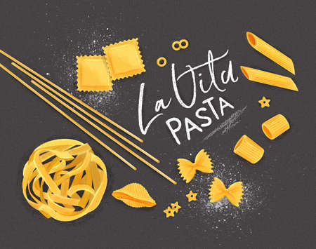 Poster lettering la vita pasta with many kinds of macaroni drawing on grey background.