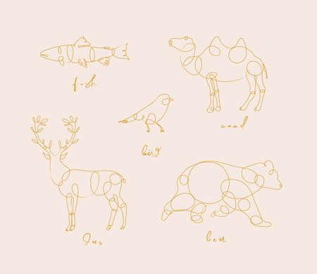 Set of animals fish, camel, bird, deerm bear drawing in pen line style on beige background Stock Illustratie