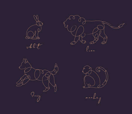 Set of animals rabbit, lion, dog, monkey drawing in pen line style on dark background Illustration