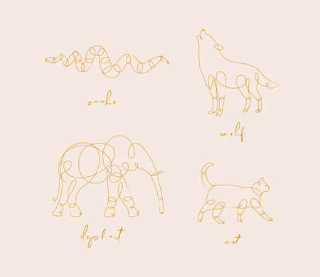 Set of animals snake, wolf, elephant, cat drawing in pen line style on beige background Stock Illustratie