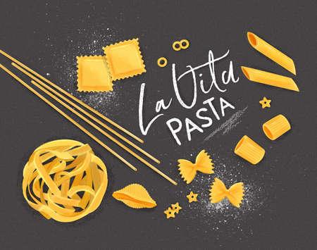 Plakat, das La Vita Pasta mit vielen Arten von Makkaroni-Zeichnungen auf grauem Hintergrund beschriftet. Vektorgrafik