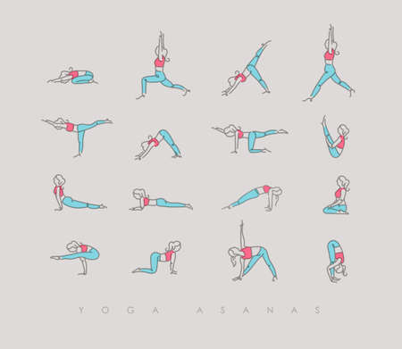 Pen line hand drawing girls in yoga asanas in light style drawing with color on beige background
