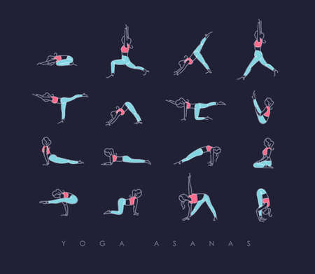 Pen line hand drawing girls in yoga asanas in light style drawing with color on dark blue background