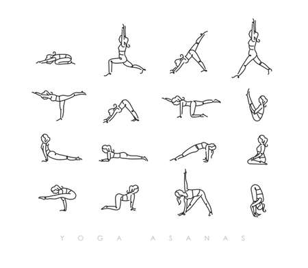 pen line hand drawing girls in yoga asanas in light style drawing with color on white background