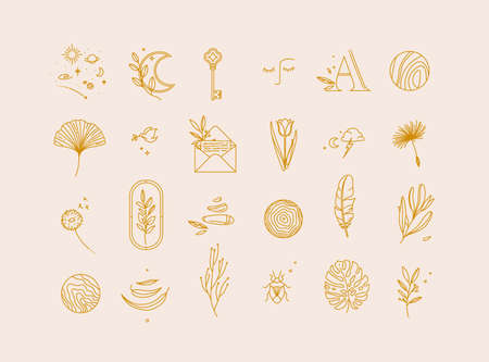 Symbols in modern minimalism style drawing on beige color