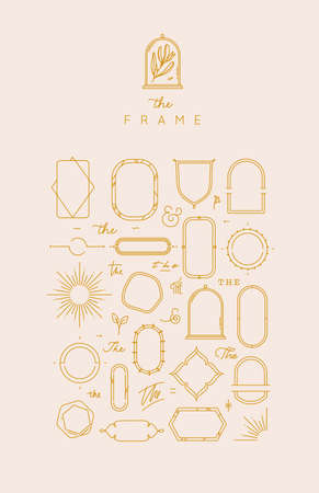 Modern frames and elements in flat style to create unique design drawing on beige color background