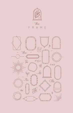 Cadres et éléments modernes dans un style plat pour créer un dessin de conception unique sur fond de couleur beige rose