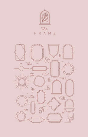Modern frames and elements in flat style to create unique design drawing on rose beige color background