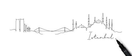 City silhouette Istanbul in pen line style drawing with black lines on white