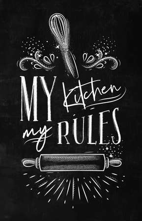 Poster with illustrated pastry equipment lettering my kitchen rules in hand drawing style on chalk background.